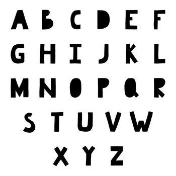 Scandinavian alphabet. Nordic style latin nurcery handdrawn font. Vector cartoon hand drawn decorative letters.