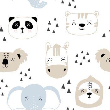 Seamless kids pattern with cute animals faces. Cartoon hand drawn baby print with panda zebra tiger elephant koala sloth.