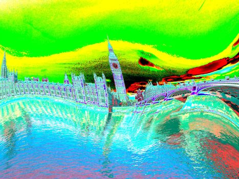 Psychedelic illustration of Houses of Parliament in London