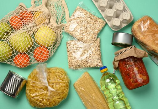 various products, bread, pasta, sunflower oil in a plastic bottle and preservation