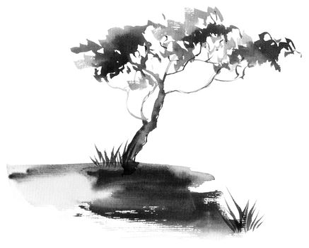 Tree by ink and watercolor