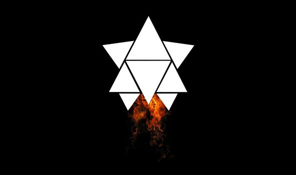 rocket made of triangles going on space, burning flames on dark space background