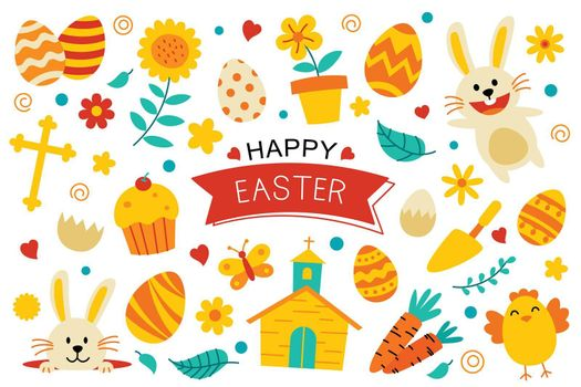 Happy easter flat color elements design. Easter set with object and decorations on white background.