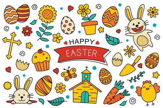 Happy easter doodle elements design. Easter set with object and decorations on white background.