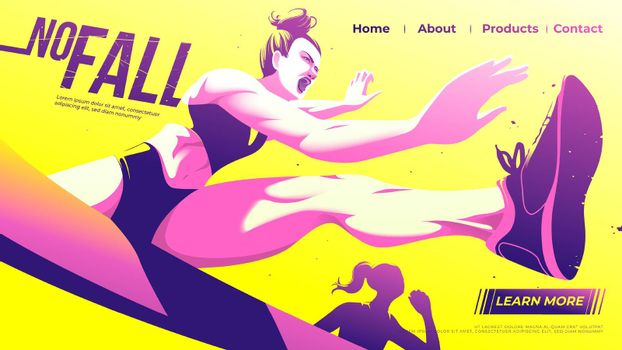 Vector illustration for ui or a landing page of hurdle running of the female athletes is jumping across the hurdle with determination in the game.