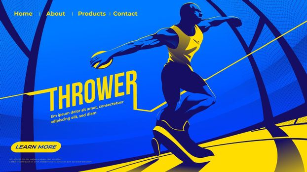 Vector illustration for ui or a landing page of the throwing the discus sport feature the male athlete is concentrating the throwing