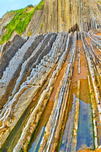 Steeply-tilted Layers of Flysch, Basque Coast UNESCO Global Geopark, Spain