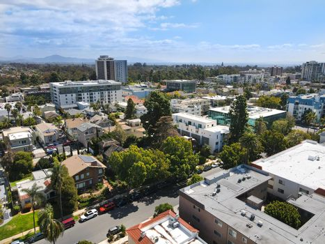Aerial view above Hillcrest neighborhood in San Diego