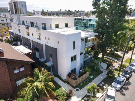 Modern apartment building in Hillcrest neighborhood in San Diego,