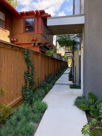 Modern apartment building front sid eand entrance in Hillcrest neighborhood in San Diego,