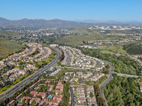 Aerial view of upper middle class neighborhood with big villas around in San Diego