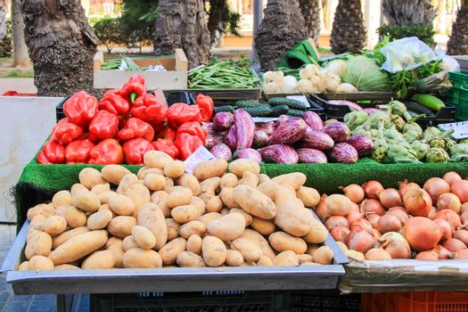 Vegetables for sale at an ecological market stall in Elche, Alicante, Spain.