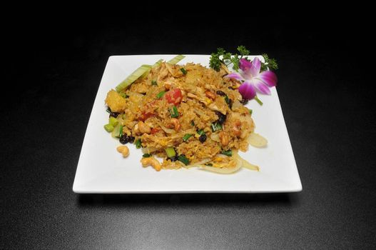 Delicious asian dish known as pineapple fried rice