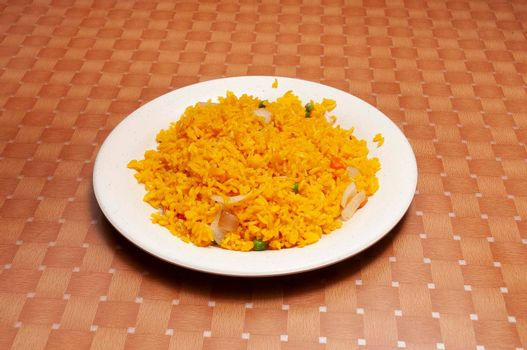 Authentic food known as yellow Asian rice