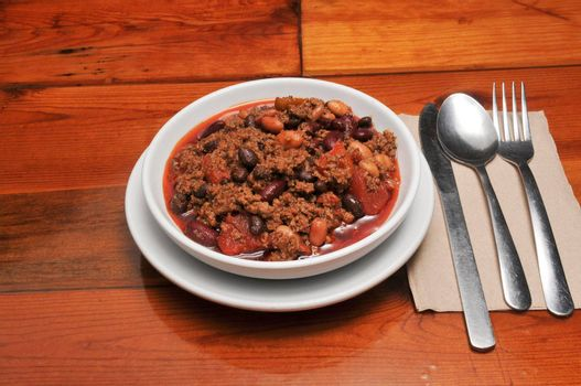 Delicious bowl of traditional piping hot chili