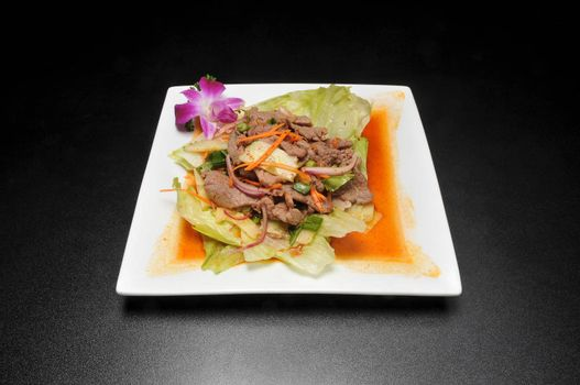 Delicious Thai cuisine known as beef salad