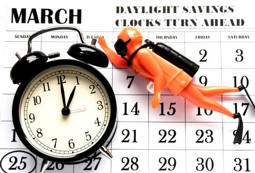Daylight Savings Spring Forward sunday at 1:00 a.m. March 25 date indicated in the calendar. Clock next to a toy diver.