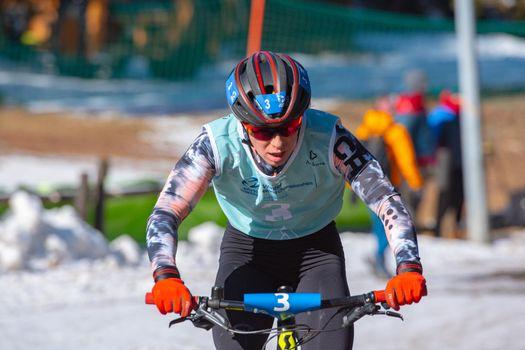 Naturlandia, Andorra : 2021 March 20 : Romana Slavinec AUT in the 2021 World Triathlon Winter Championships Andorra