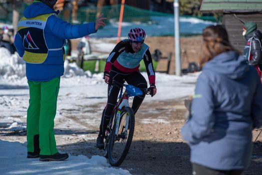Naturlandia, Andorra : 2021 March 20 : YuliaSurikova RUS in the 2021 World Triathlon Winter Championships Andorra