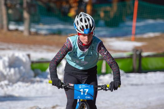 Naturlandia, Andorra : 2021 March 20 : Nadezha Belkina RUS in the 2021 World Triathlon Winter Championships Andorra