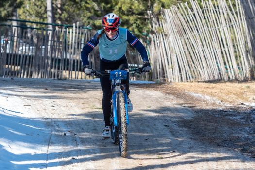 Naturlandia, Andorra : 2021 March 20 : Ségolène Leberon FRA in the 2021 World Triathlon Winter Championships Andorra