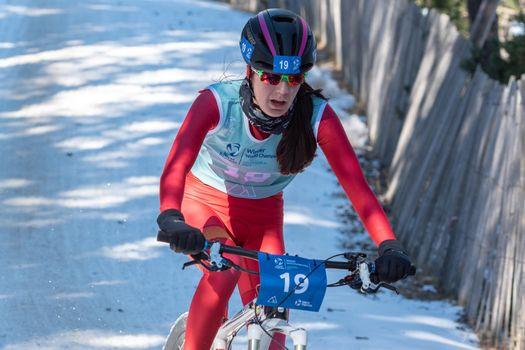 Naturlandia, Andorra : 2021 March 20 : Claudia Martinez ESP in the 2021 World Triathlon Winter Championships Andorra