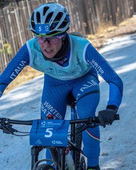 Naturlandia, Andorra : 2021 March 20 : Sandra Mairhofer ITA in the 2021 World Triathlon Winter Championships Andorra