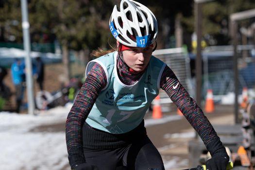 Naturlandia, Andorra : 2021 March 20 : NadezhdaBelkina RUS in the 2021 World Triathlon Winter Championships Andorra
