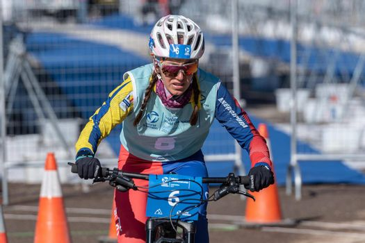 Naturlandia, Andorra : 2021 March 20 : Maria Luiza Rasina ROM in the 2021 World Triathlon Winter Championships Andorra