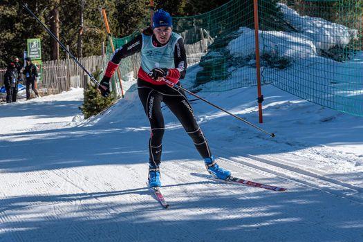 Naturlandia, Andorra : 2021 March 20 : Yulia Surikova RUS in the 2021 World Triathlon Winter Championships Andorra