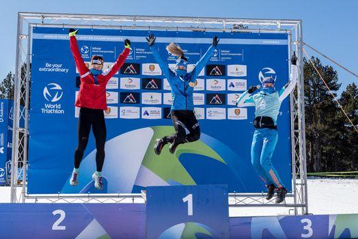 Naturlandia, Andorra : 2021 March 20 : Franco Pesavento ITA in the 2021 World Triathlon Winter Championships Andorra
