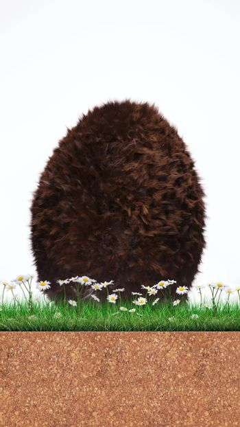 Furry Easter egg isolated on white background 3d illustration