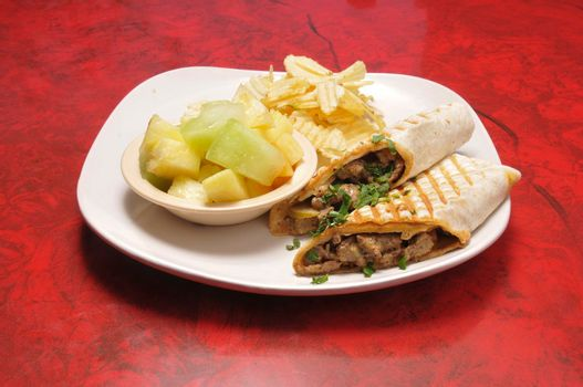 Delicious and delectable dish known as the beef shawarma sandwich