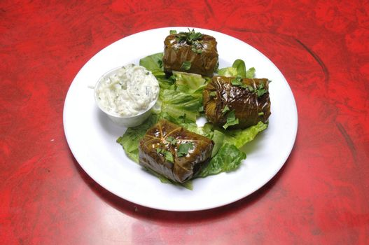 Delicious and delectable mediterranean dish known as stuffed grape leaves