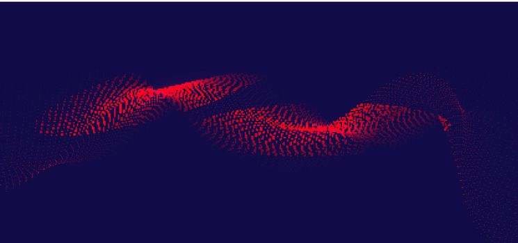 Abstract flowing red wavy lines dots particles on dark blue background