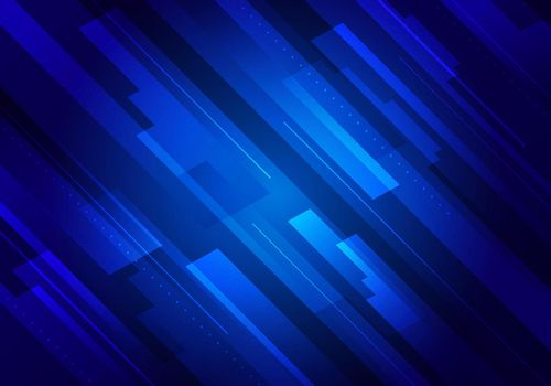 Abstract technology futuristic concept blue glowing diagonal stripes layered on dark background