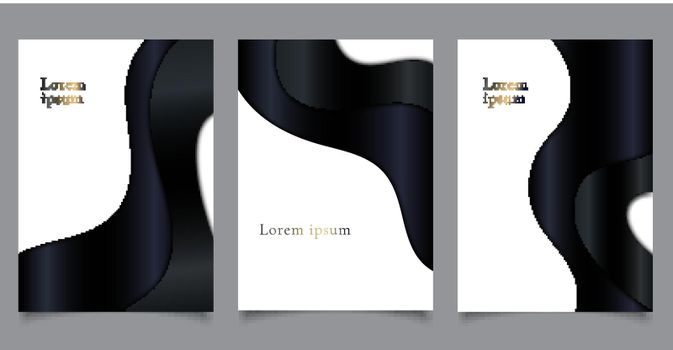 Set of brochure cover luxury template paper cut style black curve wave shape on white background
