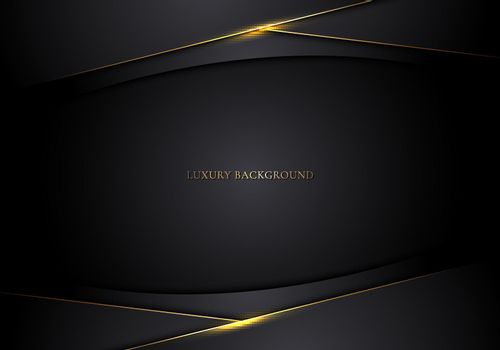 Abstract modern template 3D black stripes with golden lines on dark background. Luxury style. Vector illustration