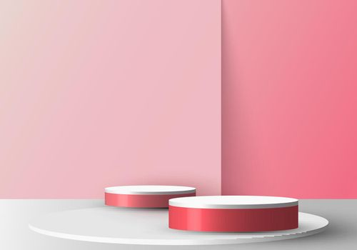 3D realistic empty red and white round pedestal mockup on soft pink backdrop