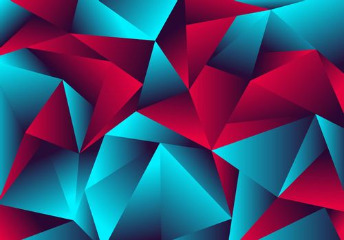 Abstract low polygon red blue gradient color neon light with a reflection on triangle background texture