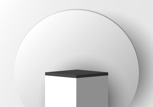 3D realistic white pedestal with black border and circle backdrop for product display