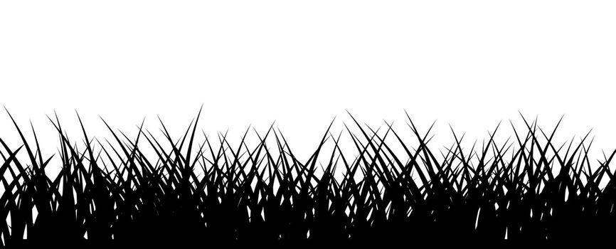 Grass border. Black lawn horizontal illustration. Vector monochrome backdrop