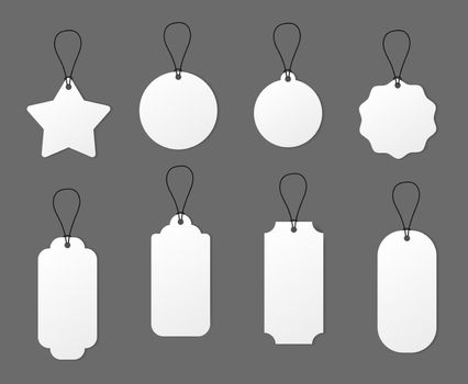 Empty white price tag label. Paper realistic card sale badge. Vector round star rectangle empty cardboard shape