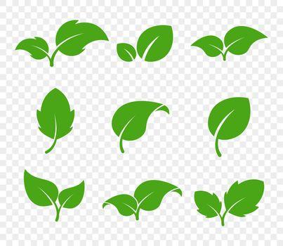 Eco green foliage. Leaf eco logo. Vector flat icon set. Vegetarian organic plant.