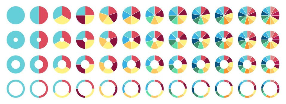 Circle pie chart. 2,3,4,5,6,7,8,9,10 11 12 sections or steps Flat process cycle Progress sectors.
