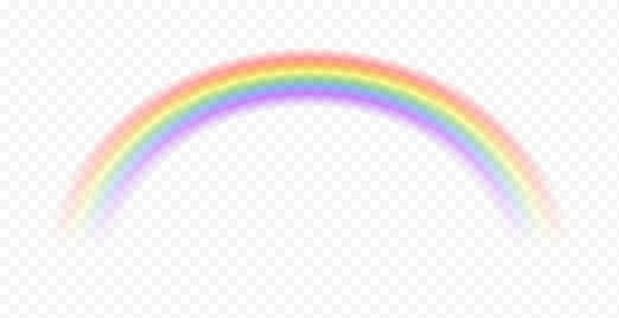 Realistic rainbow. Sky magic spectrum color after rain on transparent background. Vector fantasy effect
