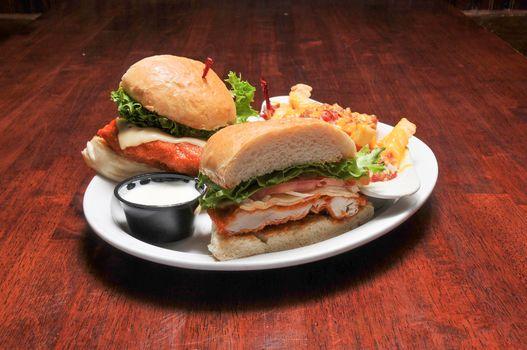 Delicious American cuisine known as a buffalo chicken sandwich