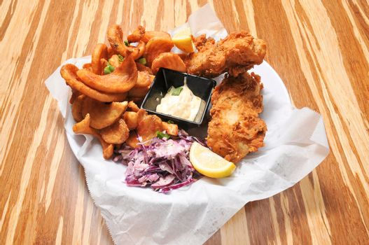 Delicious traditional cuisine known best as fried fish and chips