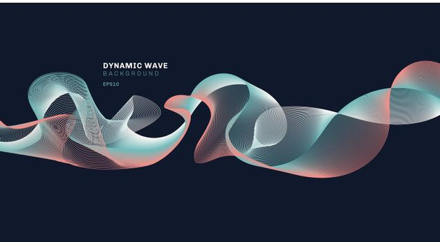 Abstract technolog with dynamic waves lines on dark blue background.