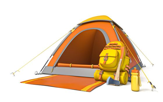 Picnic and camping site with backpack and axe 3D